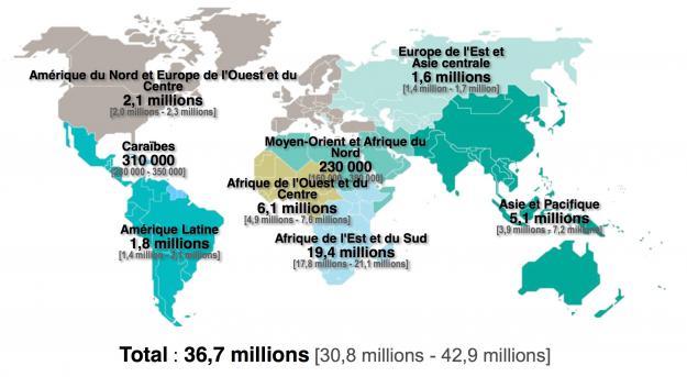 Carte du nombre de personnes vivant avec le VIH en 2016, Onusida