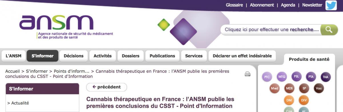 Capture du site de l'ANSM.