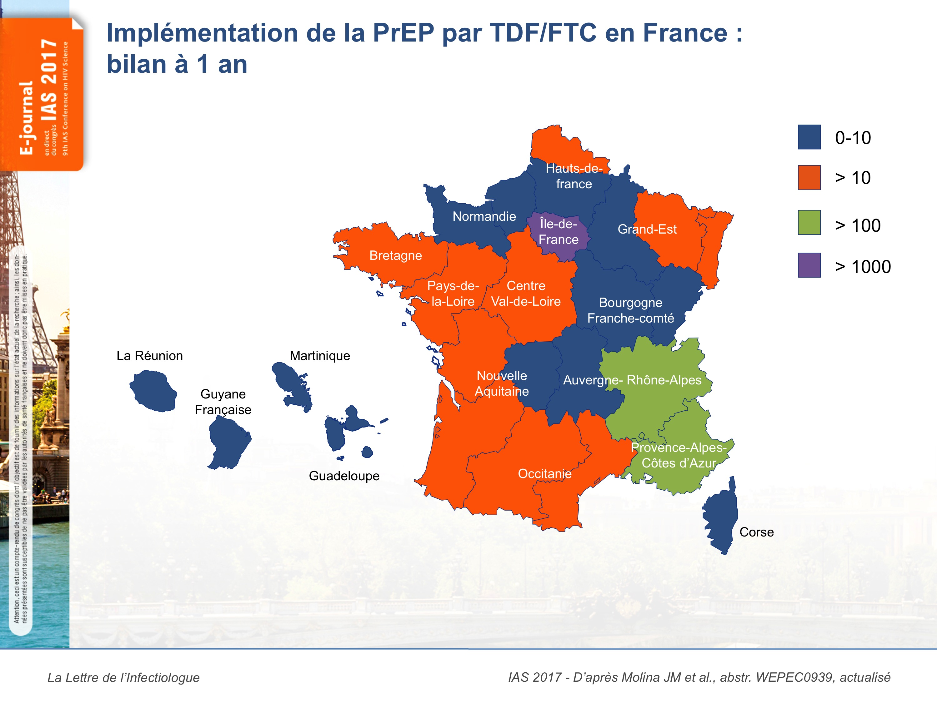 Carte de l'implémentation de la PrEP par TDF/FTC en France, 2017