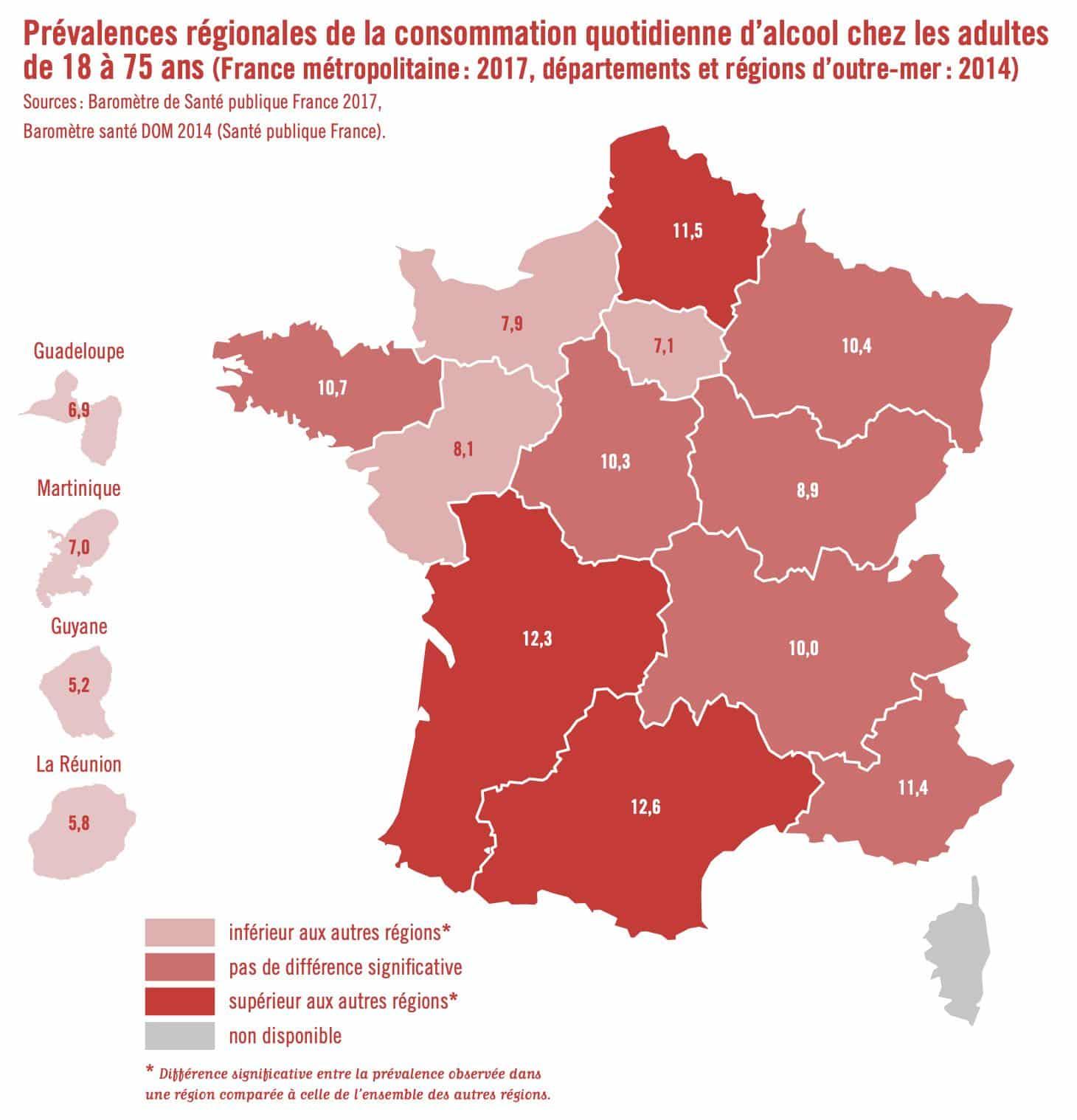 Prévalences régionales de la consommation quotidienne d'alcool chez les adultes de 18 à 75 ans (France métropolitaine : 2017, départements et régions d'outre-mer : 2014)